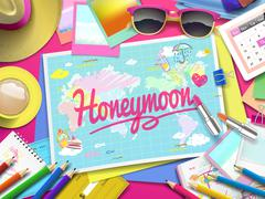 Honeymoon on map Stock Illustration