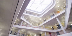 Interior view of a large modern university building. Stock Footage
