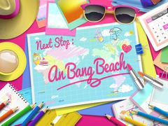 An Bang beach on map Stock Illustration