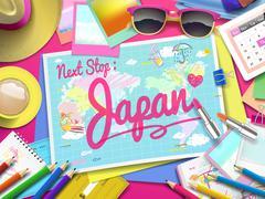 Japan on map Stock Illustration