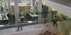 High interior view of Large College area Stock Footage
