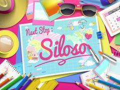 Siloso beach on map Stock Illustration