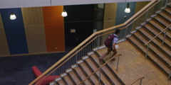 High view of College stairwell Stock Footage
