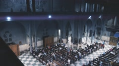 Prayers during mass inside church Stock Footage