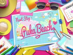 Puka Beach on map Stock Illustration