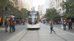 4k moving shot of Bourke Street Mall in Melbourne Stock Footage