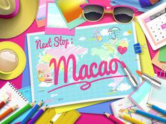 Macao on map Stock Illustration