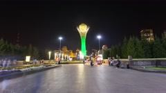 Baiterek in Astana night Stock Footage