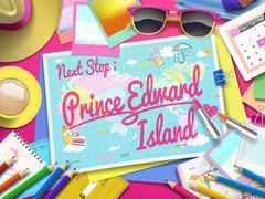 Prince Edward Island on map Stock Illustration