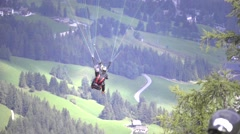 Paragliding over italian alps Stock Footage