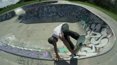 Skate board hand plant Stock Footage