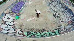 Skateboard back flip top angle Stock Footage