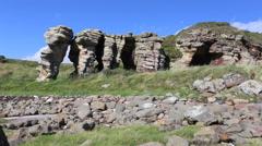 Timelapse of Caiplie Caves Fife Scotland Stock Footage
