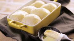 Baking fresh homemade dinner rolls. Stock Footage