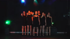 A group of girls dancing dance on stage Stock Footage