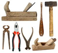 Hand tools on white background Stock Photos