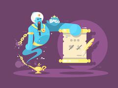 Genie from lamp character illustration Stock Illustration