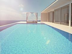 Luxury swimming pool. color edit.3d rendering Stock Illustration