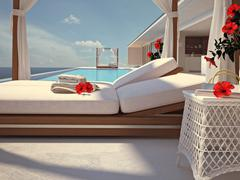 Luxury swimming pool with hibiscus flower. color edit. 3d rendering Stock Illustration