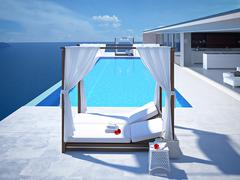 Luxury swimming pool with hibiscus flower. 3d rendering Stock Illustration