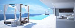 Luxury swimming pool in santorini. 3d rendering Stock Illustration