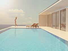 Woman enjoying the sun at the endless pool. 3d rendering Stock Illustration