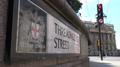 Low angle of threadneedle street ec2 sign Stock Footage