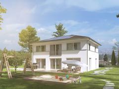 Modern townhouse. leak edit. 3d rendering Stock Illustration