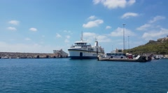 Gozo Island, Malta - August 03 2016: Gozo Channel Line Ferry departing Gozo port Stock Footage