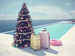Christmas vacation at the pool. 3d rendering Piirros