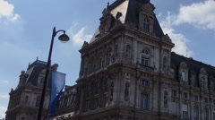 Hotel de Ville City Hall In Paris, Pan Stock Footage