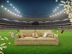 Stadium with a sofa in the middle. 3d rendering Piirros