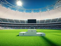 Stadium by day with winner stairs, blue sky. 3d rendering Stock Illustration