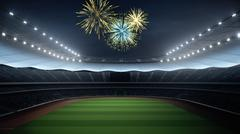 Stadium with fans the night before the match. 3d rendering Stock Illustration