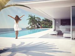 Woman in luxury resort near the swimming pool. 3d rendering Stock Illustration