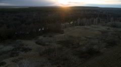 Landscape at dusk aerial shot. Stock Footage