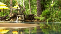 Hot springs resort pool. Luxury pool with mineral water in a spa center. Green Stock Footage
