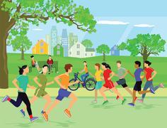 Jogging sports recreation Stock Illustration