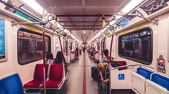 Subway Inside Interior Train Car TTC Toronto Timelapse 5k Stock Footage