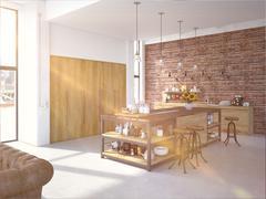Modern Design Luxurious Kitchen Interior. 3d rendering Stock Illustration