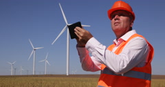 Maintenance Engineer Examine Wind Turbines Green Alternative Energy Generators Stock Footage