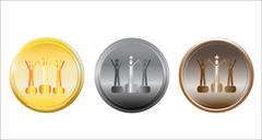 Set of medals on white. Stock Illustration