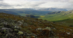 Hiking in Sarek reindeers on the mountain Stock Footage