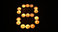 Tealight Candle Number Eight Stock Footage