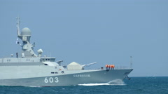 """Modern Russian missile boat with missiles """"Caliber"""" at sea Stock Footage"""