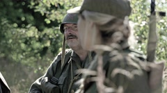 Talking Soldiers in a camp Stock Footage