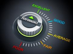 Performance dial button. 3D illustration Stock Illustration
