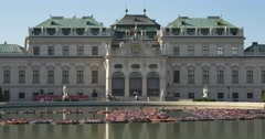 Palace Belvedere reflecting in water, life jacket installation Stock Footage