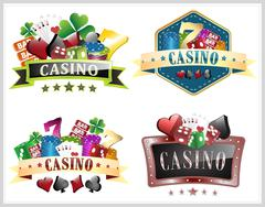 Set of casino vector illustration with gamling elements, ornate frame, card s Stock Illustration