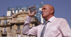 Thirsted Businessman Drink Water Outside Office Building Financial City Center Stock Footage